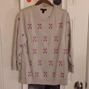 J Crew Grey Embroidered Merino Wool Sweater